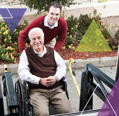A driver helps a man who utilizes a wheelchair into the vehicle as he ensures MTM Transit solves transit challenges for our clients, while achieving our vision of every trip is important.