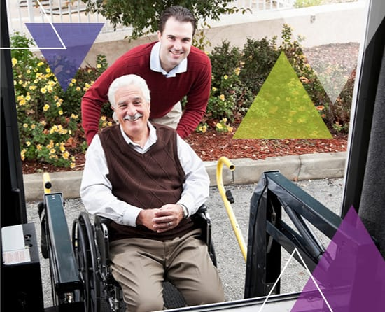 A driver helps a man onto a bus. What does MTM Transit do? MTM Transit services solve transit challenges, including paratransit brokerage.