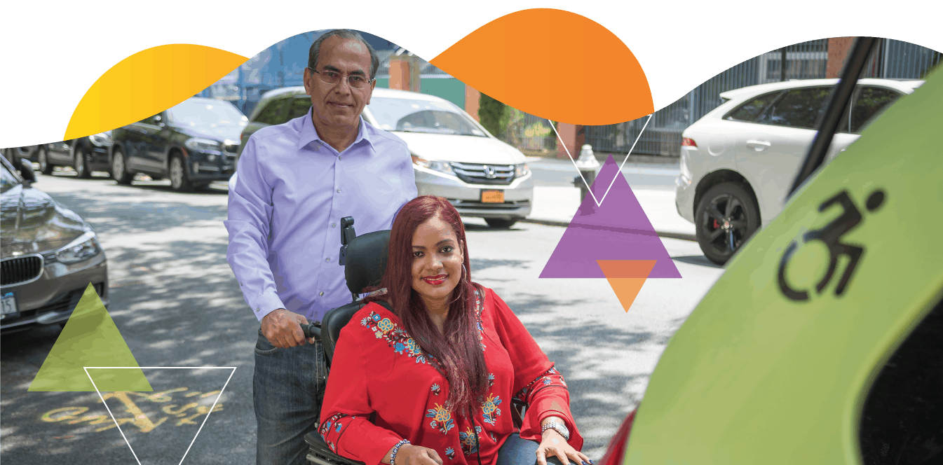 A accessible taxi driver stands behind a woman who utilizes a wheelchair. On behalf of the TLC, MTM Transit operates the Accessible Dispatch program.